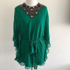 Badgley Mishka Emerald Green Beaded Tunic Blouse M